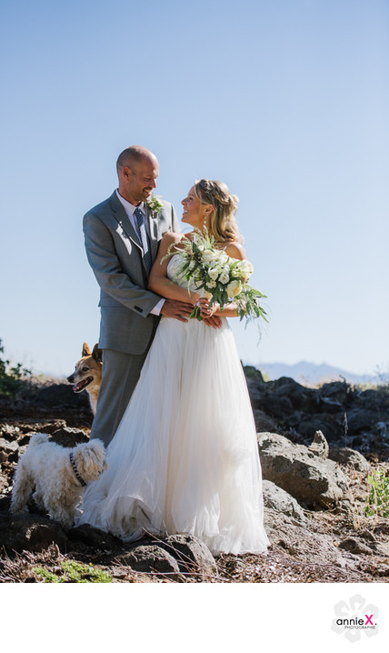Tahoe city Rocky ridge Bride and Groom  with dog pictures