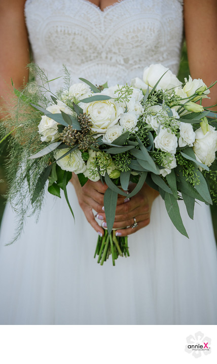 Bride and her White bouquet