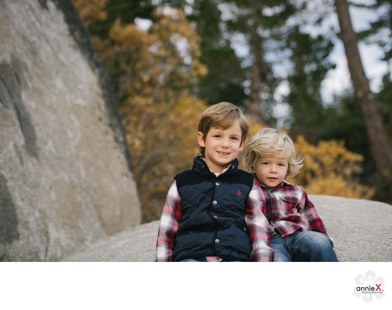 Boys in Plaid during family portrait session in Tahoe