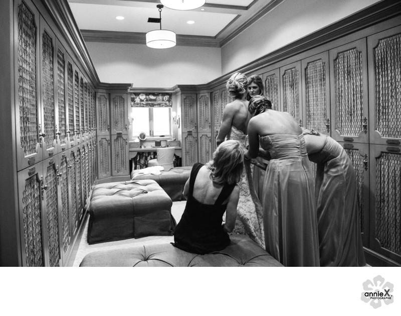 Bride gets ready in Martis Camp Lodge