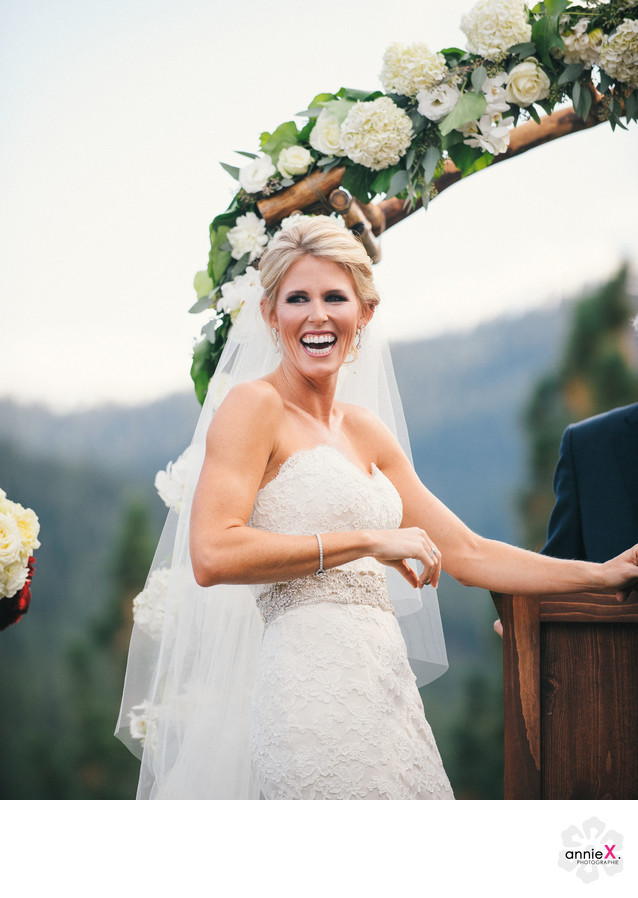 Happy bride during ceremony at Martis Camp