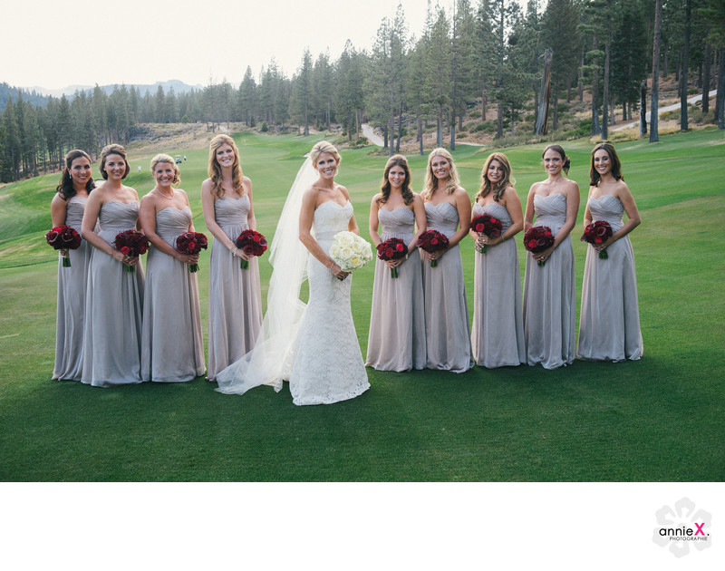 Bride and Bridesmaids on Golf course at Martis Camp