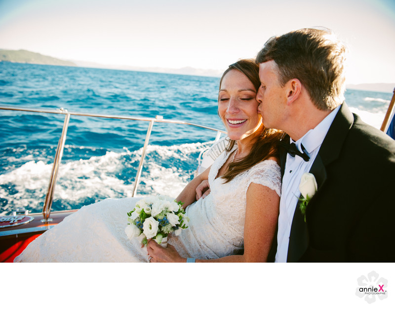 Bride and Groom relaxing on the Thunderbird boat