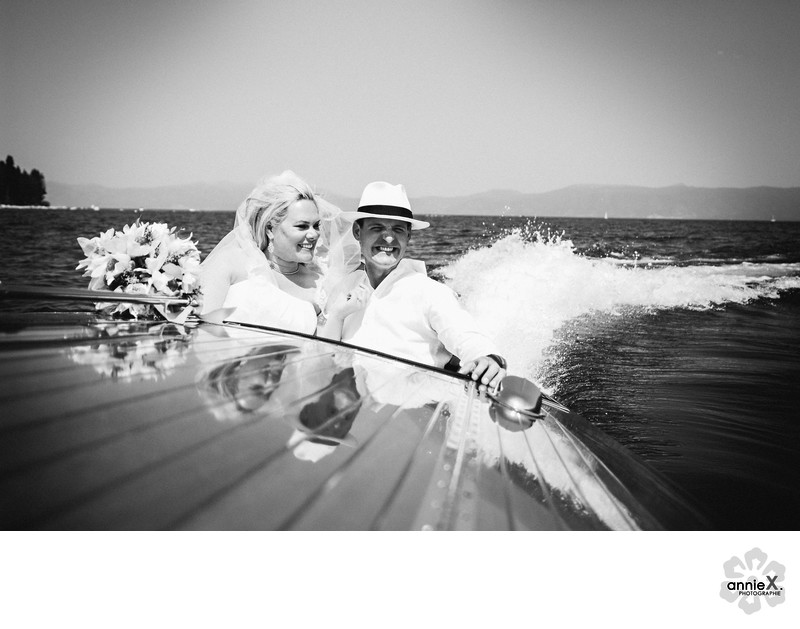 Bride and Groom in family Vintage Boat