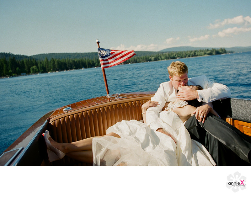 Lake Tahoe Wedding Photographer on Woody boat