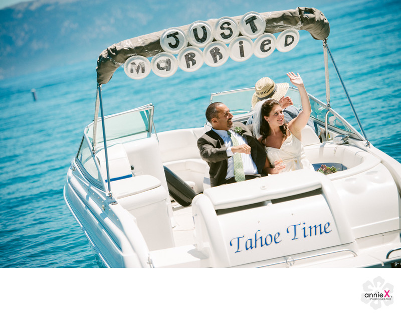 Just married Tahoe Time boat