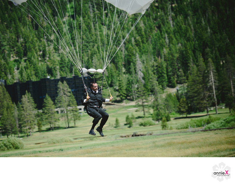 best Lake Tahoe wedding photographer capturing skydiver