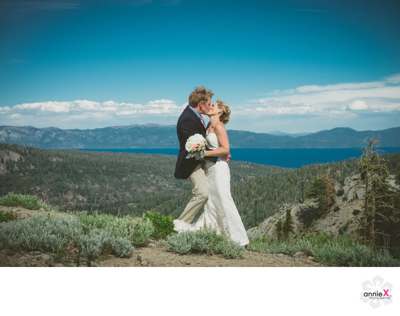 Squaw Valley wedding couple on top of KT-22