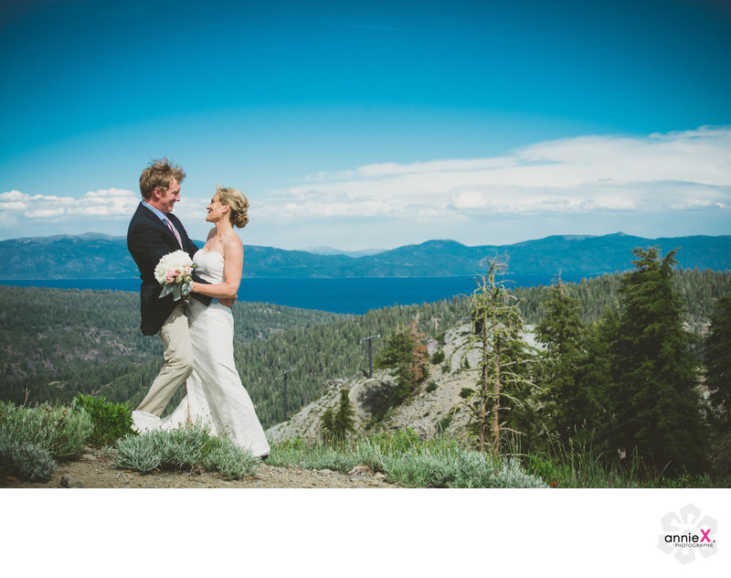 top of mountain wedding  image with view of Lake Tahoe