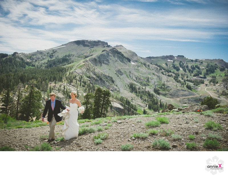 Newlyweds walking on Kt-22 in Squaw