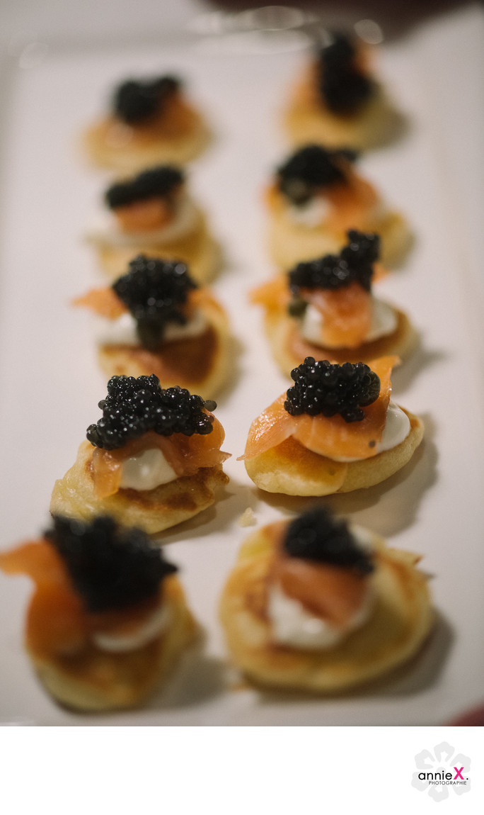 salmon and caviar bites by Redtruck catering