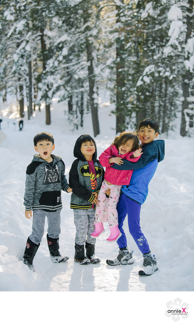 Family Photographer at Donner Lake in winter