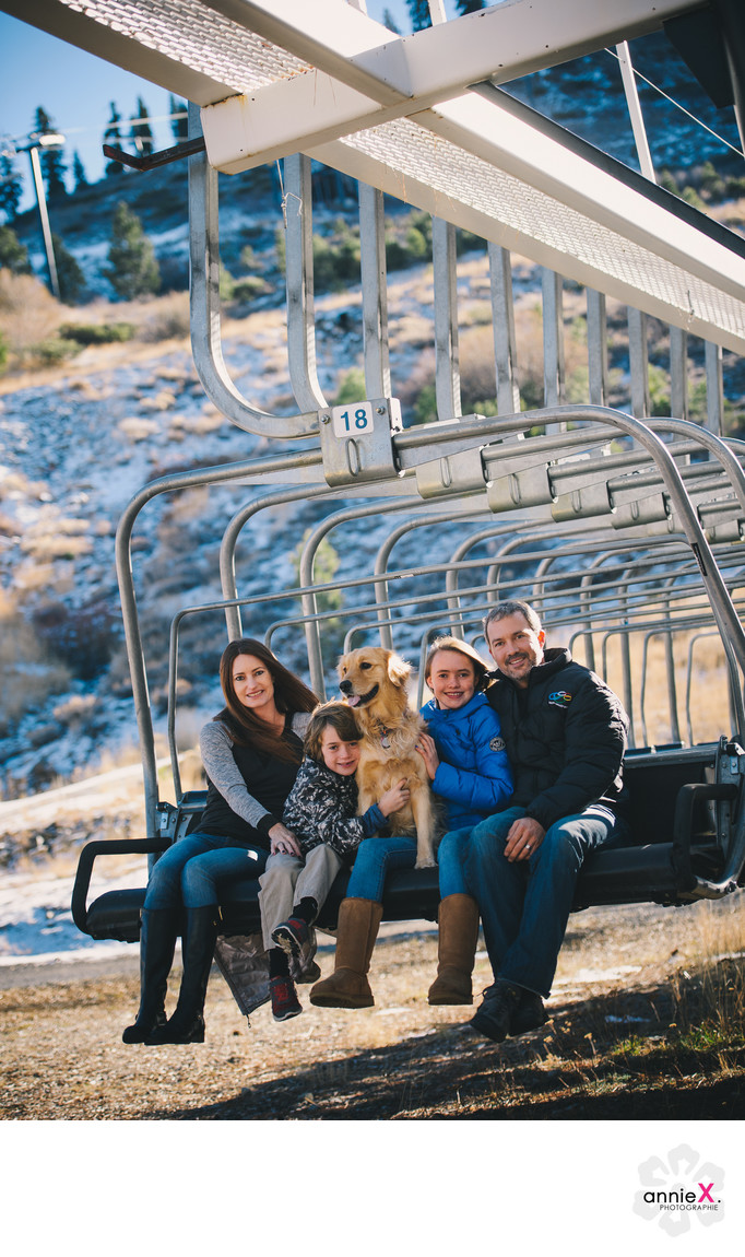 Squaw Valley family photography on KT-22 chairlift