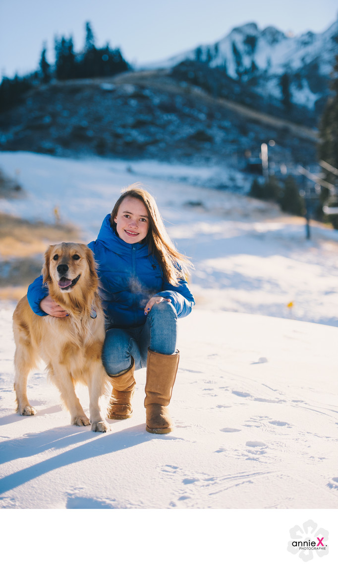 Girl and her dog in Squaw Valley