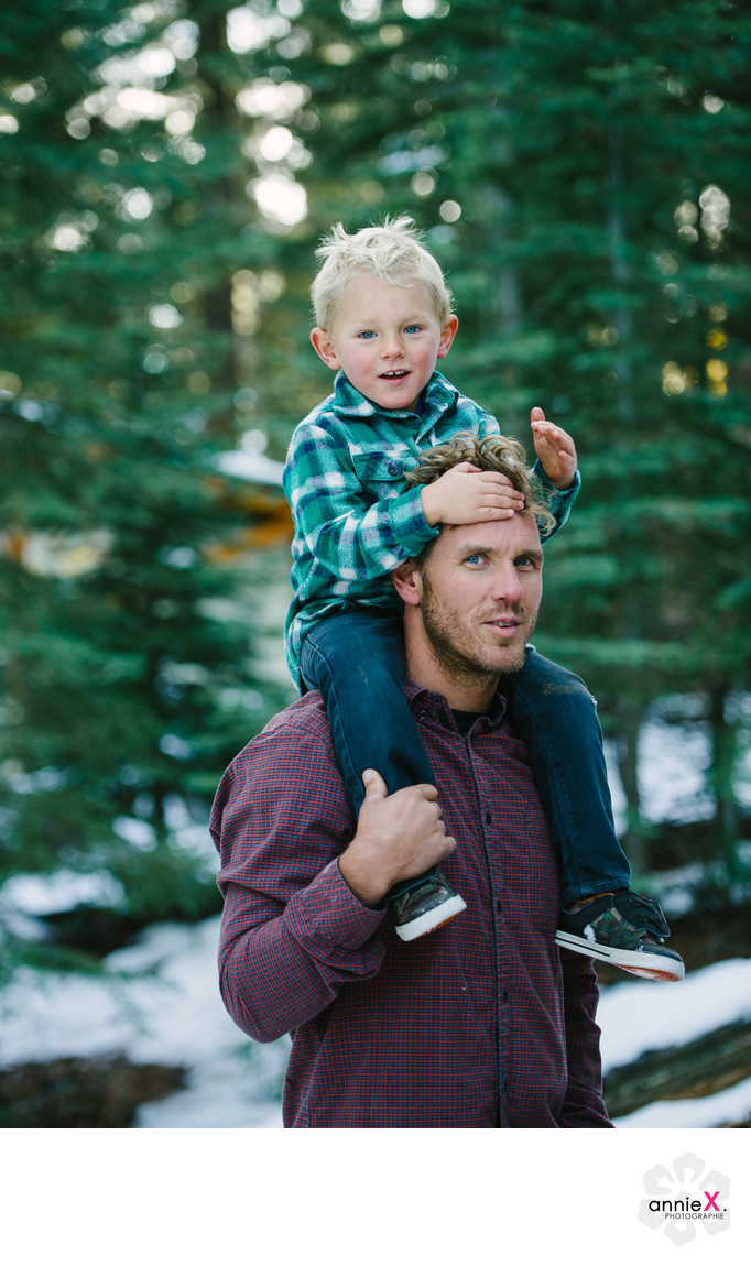 Father and boy portrait in truckee