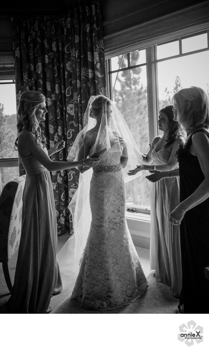 bride and sisters final touches at Martis Camp Lodge