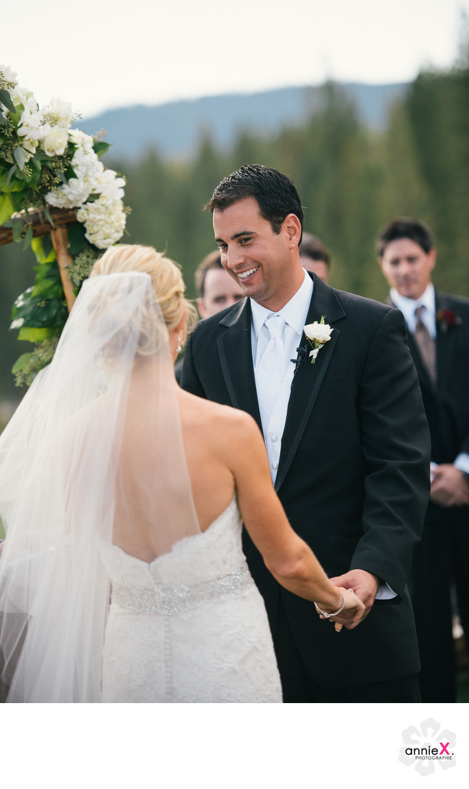 Groom during ceremony at Martis Camp