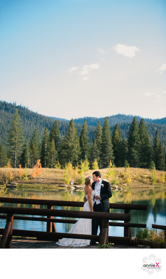 Newlyweds on bridge at Martis Camp