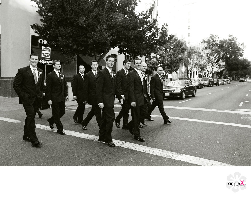Groomsmen walking downtown Sacramento wedding