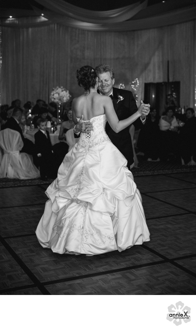 John Force dancing with daughter Ashley at wedding
