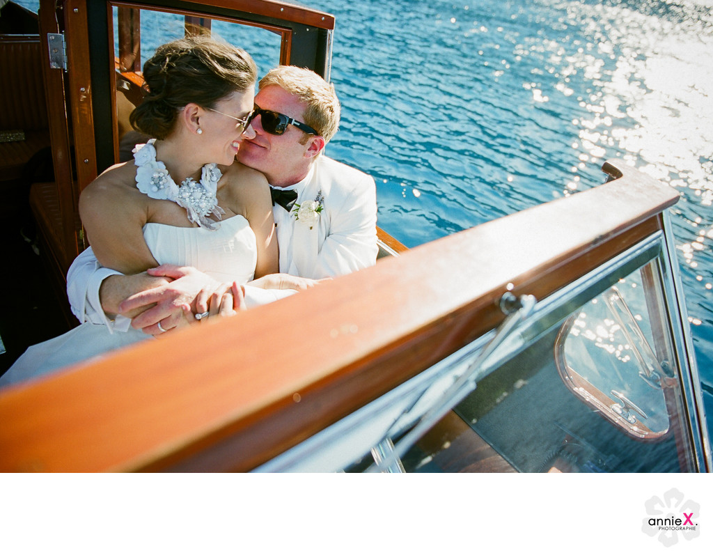 Bride and Groom on vintage boat