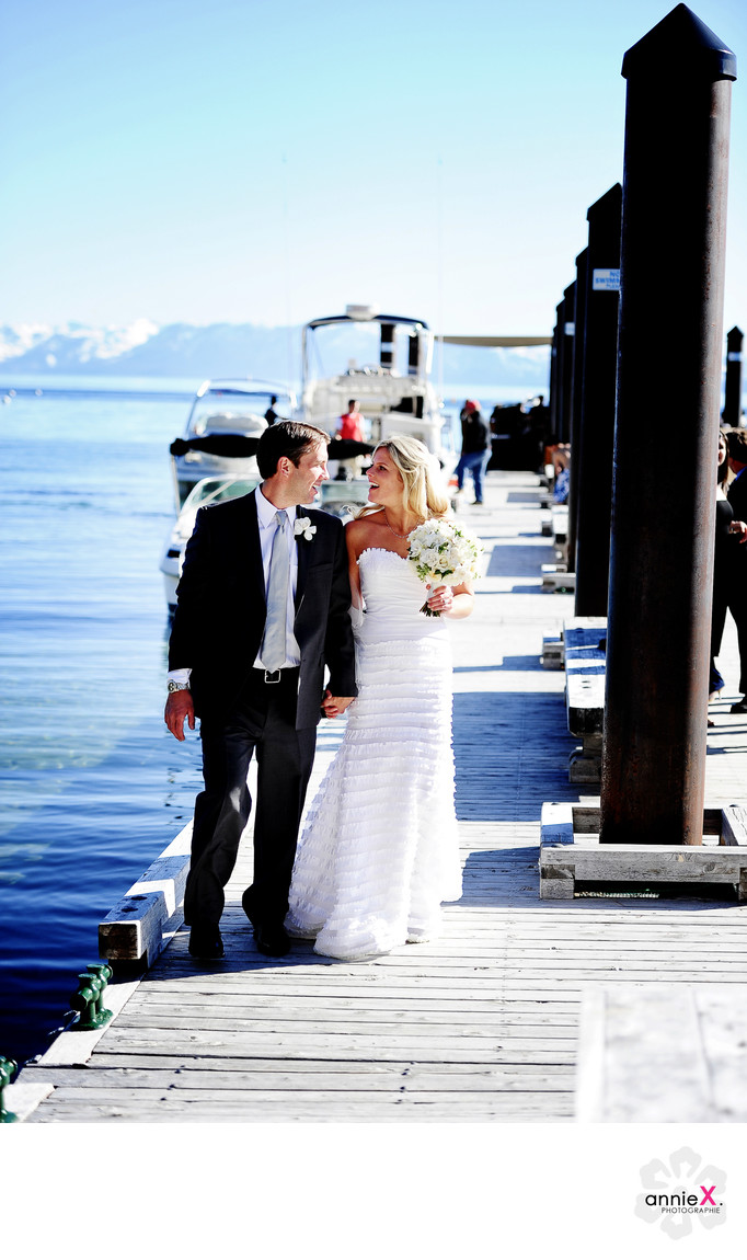 Bride and groom on Hyatt pier Lake Tahoe