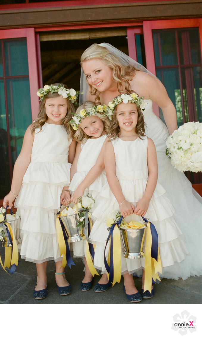 Bride and flowergirls at Private estate