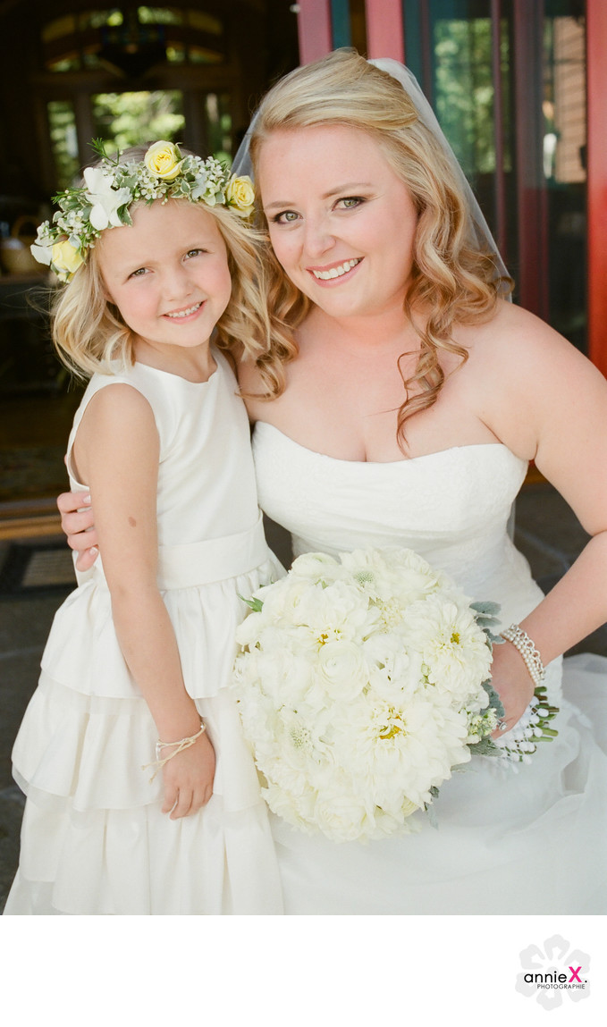 Bride and flowergirl at Private estate