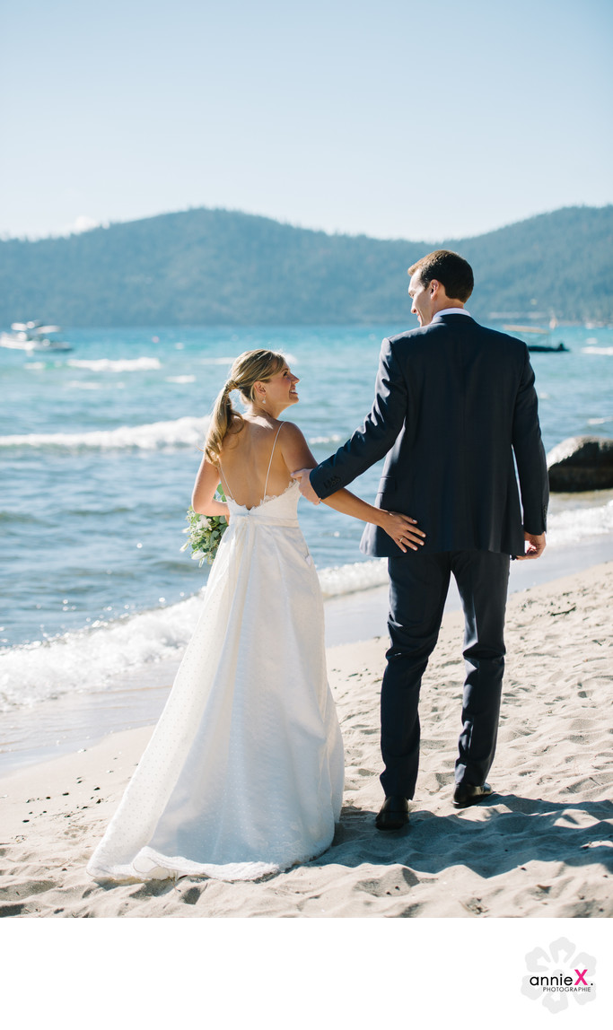 Lake Tahoe fall wedding on the beach photographer