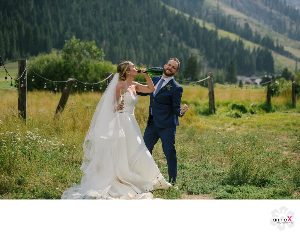 couple just married with champagne in Squaw Valley