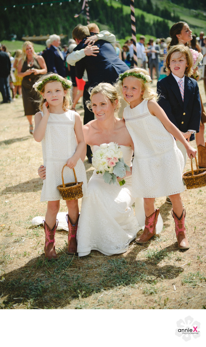 Bride and flower girls at Stables in Squaw