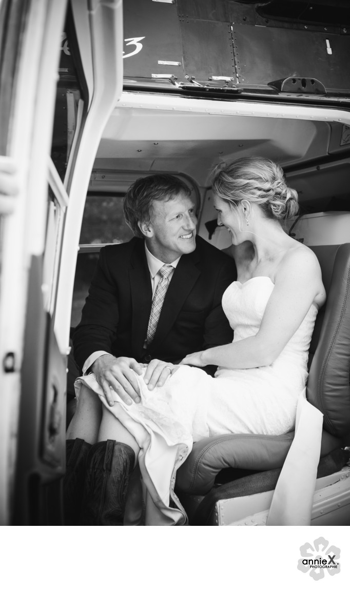 Bride and groom in helicopter