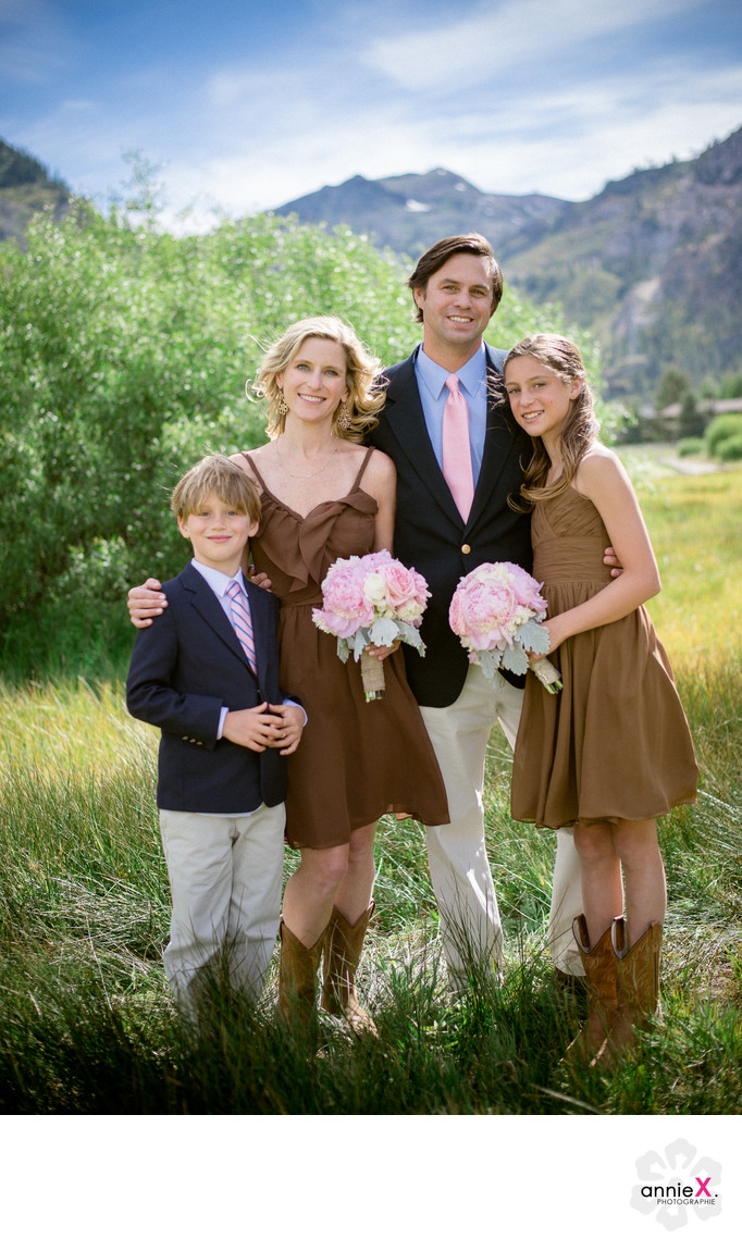Family formals photography in meadow in Squaw Valley
