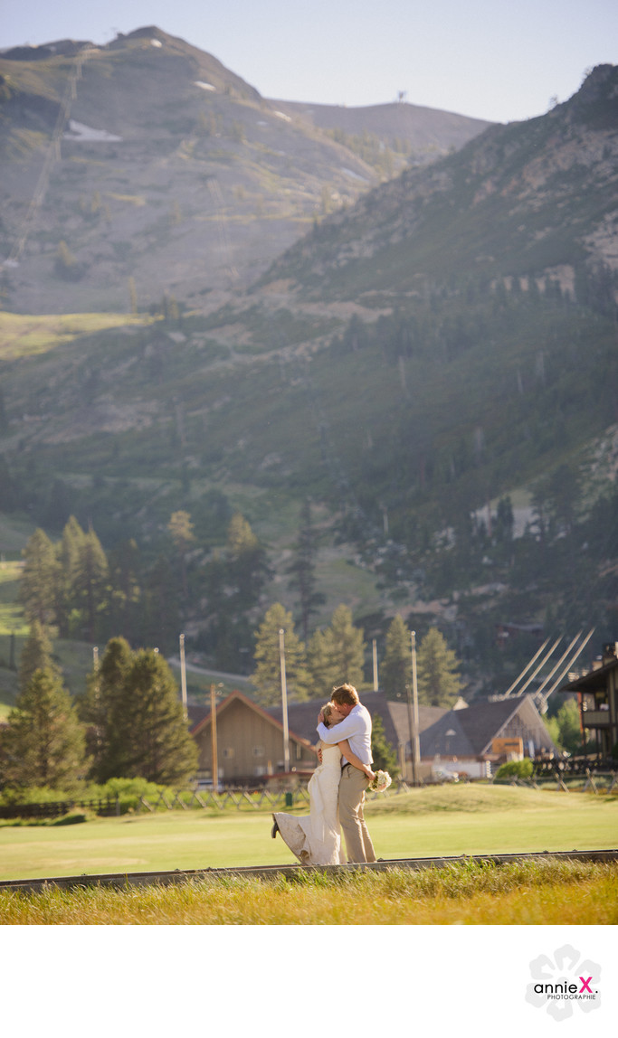 Newlyweds in meadow in Squaw Valley