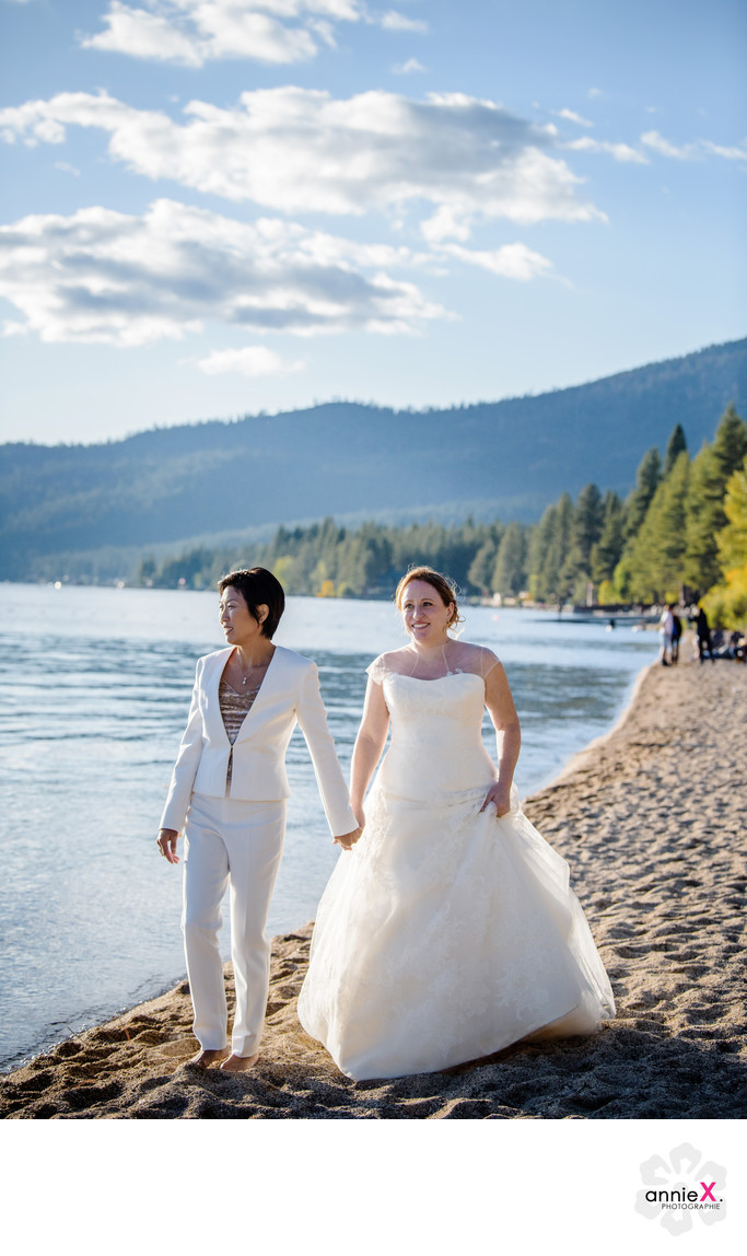 two brides on beach at Tahoe