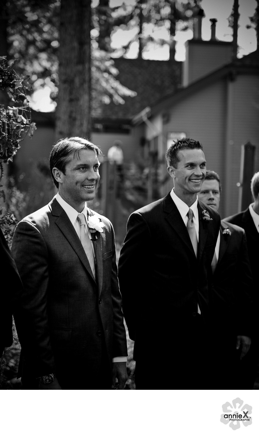 Groom reaction to bride at ceremony