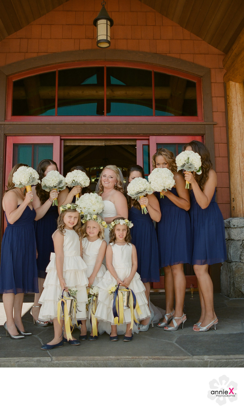 Bridesmaids and bride at private estate