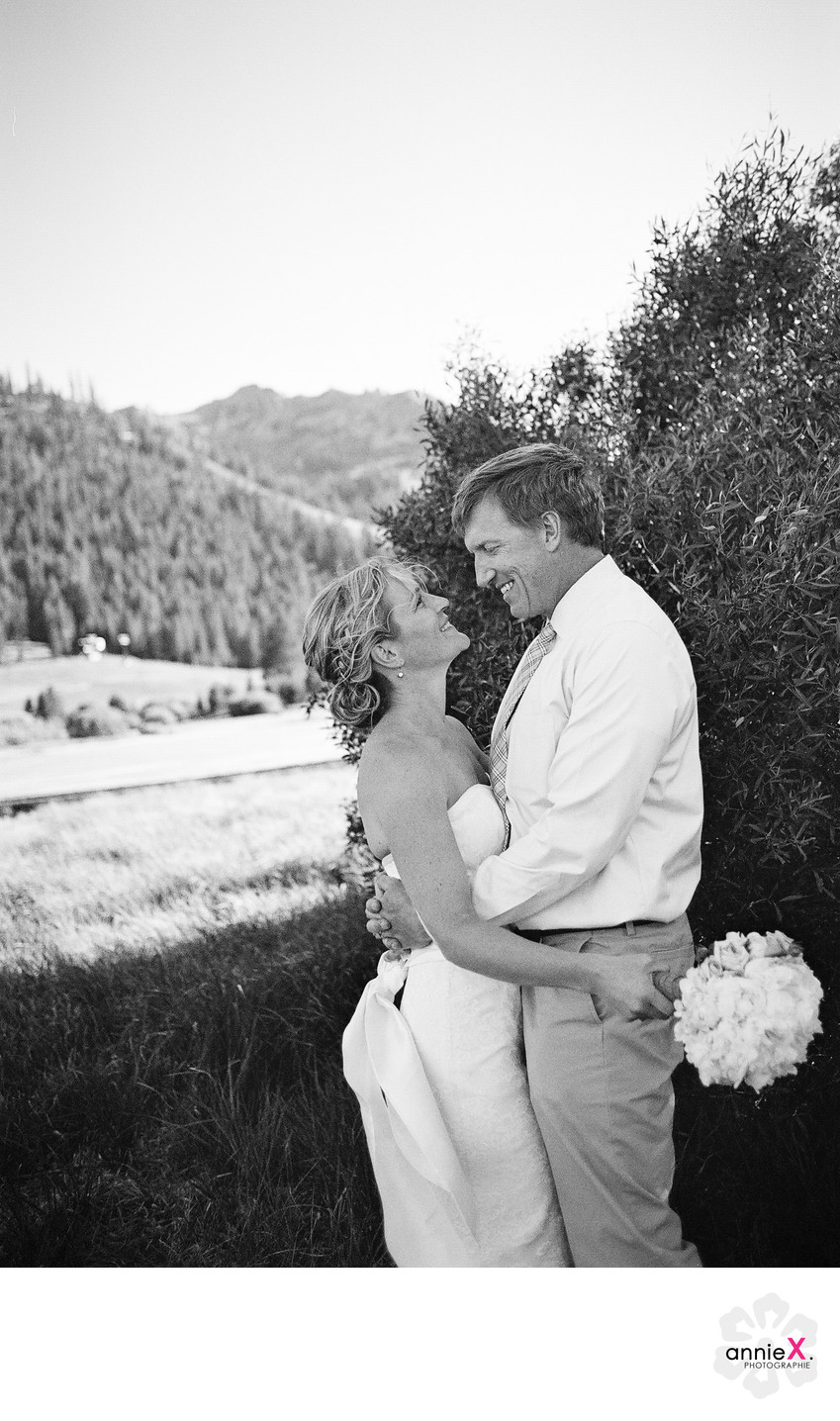 Black and white film image of couple in Tahoe