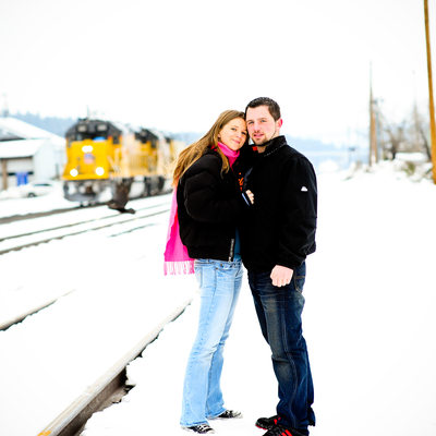 Truckee winter train tracks