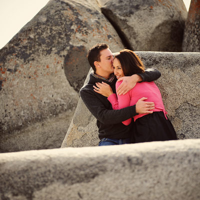 Couple in boulders in Lake Tahoe