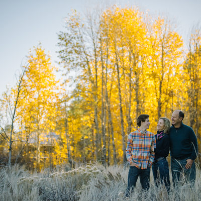 family photography with trees in Tahoe