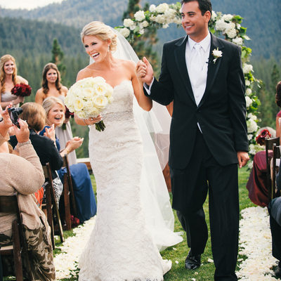 Just Married at Martis Camp wedding in Truckee