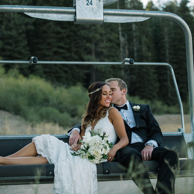 Newlyweds on Chairlift at the Ritz Carlton Tahoe