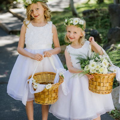 Flower girls with flower crowns in Lake Tahoe