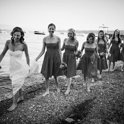 bride and her bridesmaids in black and white