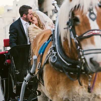 PlumpJack wedding couple in horse carriage