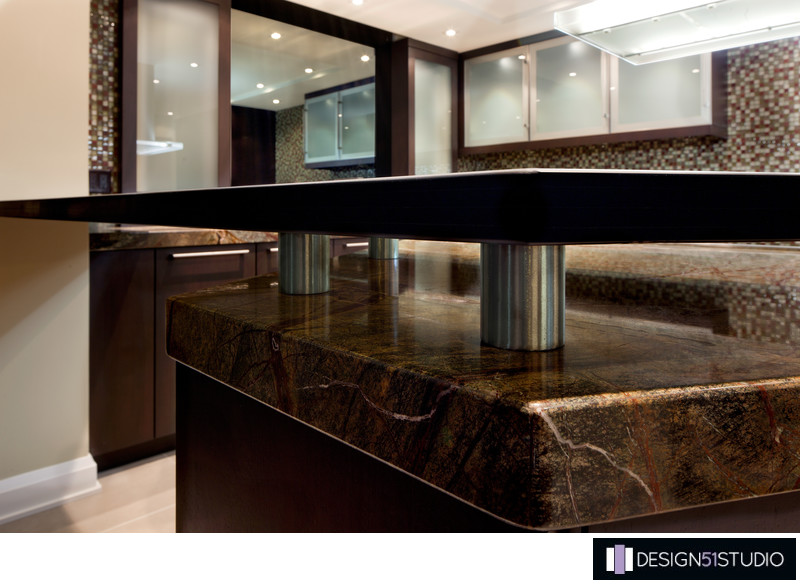 MODERN RIVERSIDE CONDO KITCHEN - GLASS TOP & STAINLESS STANDOFFS - HOLLY WIEGMANN - DESIGN 51 STUDIO