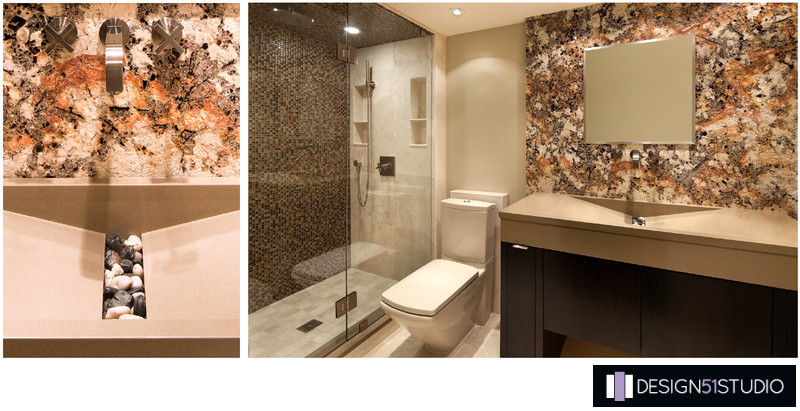 MODERN RIVERSIDE GUEST BATH - COLLAGE - HOLLY WIEGMANN - DESIGN 51 STUDIO