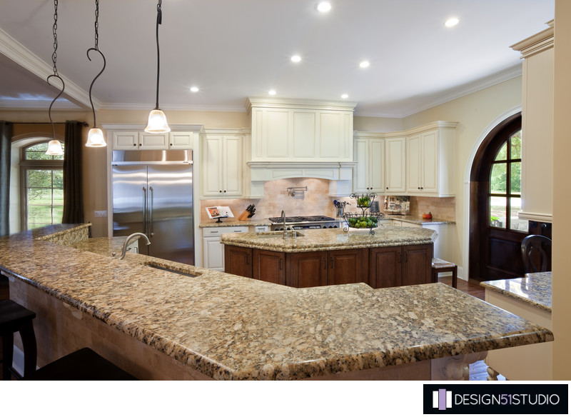 FRENCH COUNTRY KITCHEN - SEATED ISLAND - HOLLY WIEGMANN - DESIGN 51 STUDIO