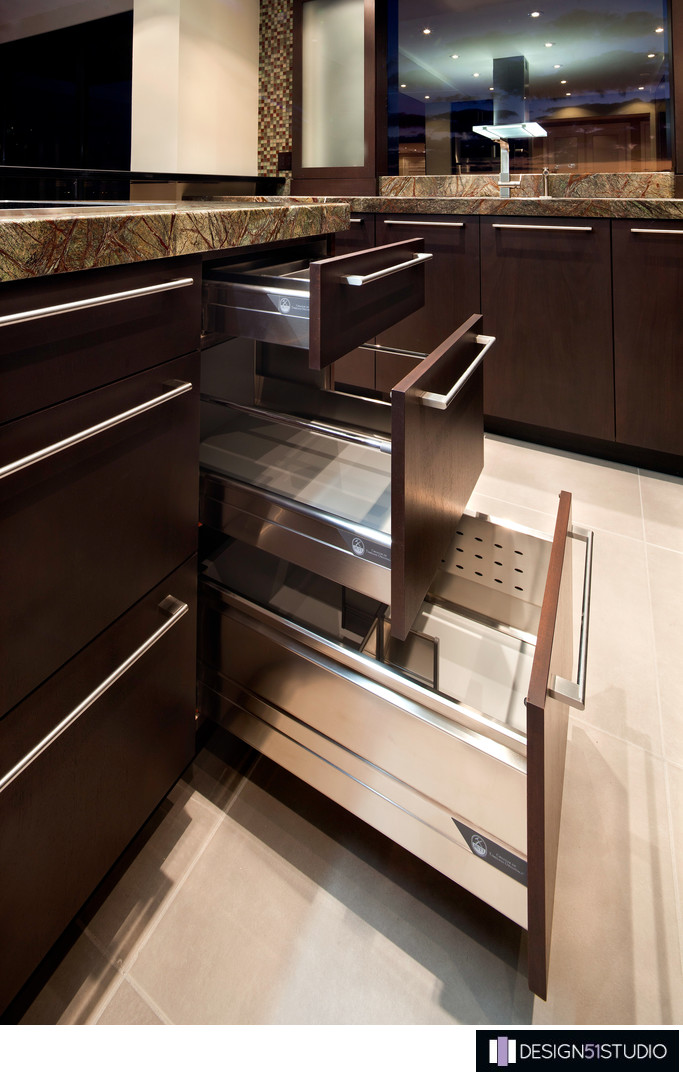 MODERN RIVERSIDE CONDO KITCHEN - DRAWER DETAILS - HOLLY WIEGMANN - DESIGN 51 STUDIO